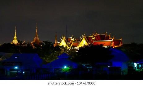Bangkok,Thailand -  March 21 2019 : Mr.Tanakrid Prombut  travel by boat along the Chao Phraya River, to see Bangkok at night, at Bangkok,Thailand.