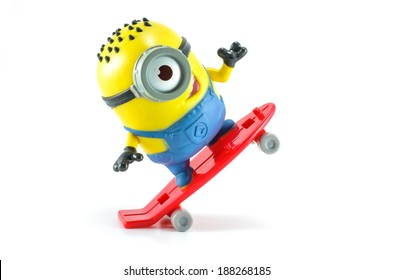 Bangkok,THAILAND - March 24, 2014: Carl rocket Minion Mcdonalds happymeal toy. plastic toy sold as part of the McDonald's Happy meal.