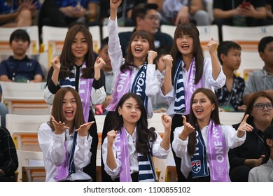 BANGKOK,THAILAND - MARCH 25,2018 :BNK48 artist girl group during king cup 2018 between thailand against slovakia at national stadium,thailand