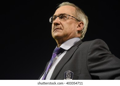 BANGKOK,THAILAND March 27:Head coach Uli Stielike of Korea Republic in action during the International friendly match Thailand and Korea republic  at Supachalasai Stadium on March27,2016 in Thailand.