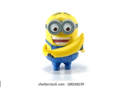 Bangkok,THAILAND - March 30, 2014: Minion Dave Banana Babbler  Mcdonalds happymeal toy. plastic toy sold as part of the McDonald's Happy meals.