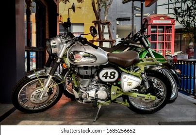 Bangkok,Thailand - March 4th ,2020 : Royal Enfield Classic parked at the Showroom garage.