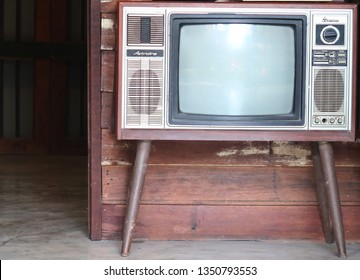 Bangkok/Thailand - March1,2019 : A set of wood cabinet vintage classic 1950s old time television