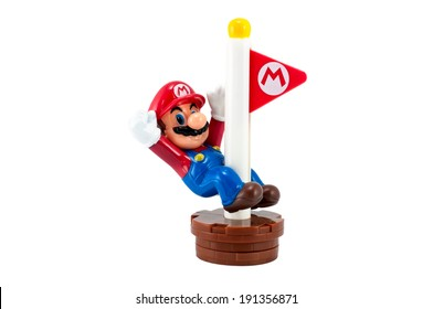 Bangkok,Thailand - May 01,2014: Mario with Goal Pole . There are plastic toy sold as part of the McDonald's Happy meals.