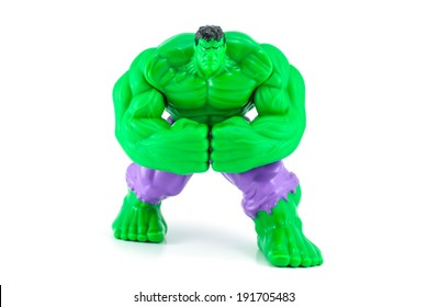 Bangkok,Thailand - May 08 ,2014: The Hulk toy character from the Hulk and avenger movie. There are plastic toy sold as part of the McDonald's Happy meals.
