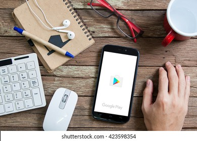 BANGKOK,THAILAND - May 16,2016: The app store and Google play are competitors in an ever growing market of applications for mobile phones and tablets.