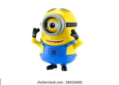 Bangkok,Thailand - May 17, 2015: Minion toy isolated on white background an action figure from Despicable Me 2 animated 3D film produced by Illumination Entertainment for Universal Pictures.