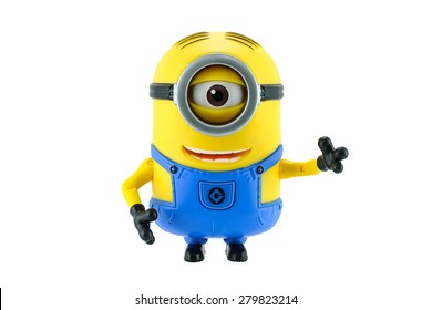 Bangkok,Thailand - May 17, 2015: Minions toy isolated on white background an action figure from Despicable Me 2 animated 3D film produced by Illumination Entertainment for Universal Pictures.