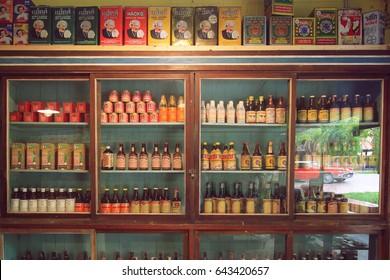 BANGKOK-THAILAND : MAY 18, 2017 old product collections decoration at Baan Bangkhen museum