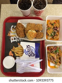 BANGKOK,THAILAND - MAY 18,2018 - Manu 3 pc. Chicken Combo ,large french fried and Spicy Chicken combo  in TEXAS CHICKEN RESTAURANT AT THAILAND