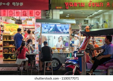 Bangkok-Thailand MAY 19 2018: Nightlife in Chinatown (Yaowarat), It filled with people and tourists who come to see for traveling and tasting street food, which are the highlight of Yaowarat at night