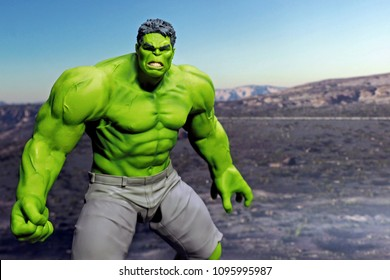 Bangkok,Thailand - May 21,2018 - Good Smile Company, Japanese toy manufacturer, launch action figure series Figma, base on famous Marvel's character the incredible Hulk