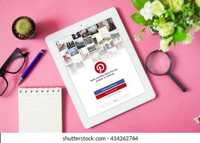 BANGKOK,THAILAND -  May 2,2016: Pinterest is a pinboard-style photo-sharing website that allows users to create and manage theme-based image collections like