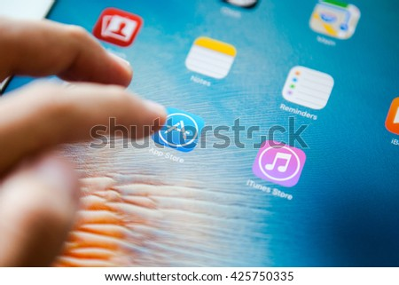 BANGKOK,THAILAND - May 23,2016:  Close-up view of the App Store icon on an iPad