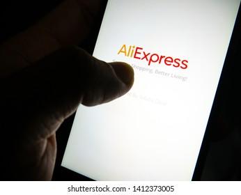 Bangkok,Thailand - May 25, 2019: Buy products online via the aliexpress application at night.