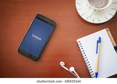 BANGKOK,THAILAND - May 28,2016: Facebook is an online social networking service founded in February 2004 by Mark Zuckerberg with his college roommates