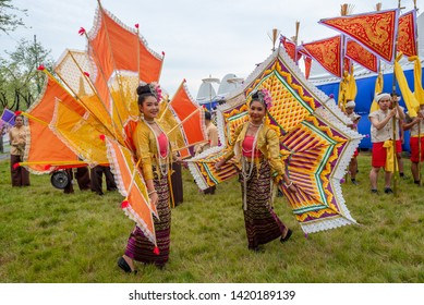 Bangkok,Thailand - May 28,2019 : Thai People in traditional dress costume of Thai traditional performance due to The Coronation of Thai Rama X King at Sanam Luang field near grand palace.