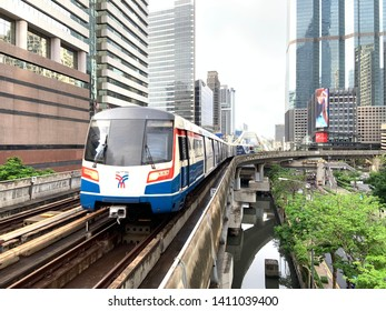 Bangkok,Thailand - MAY 30, 2019 : BTS Sky train mass transit system in Bangkok. The main BTS line connects the stations around Bangkok. The Bangkok Mass Transit System and Thai transport rail network.
