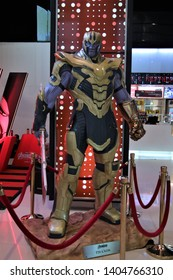 Bangkok/Thailand - May 4th, 2019. Thanos full armor suit with double blade weapon action figure show for promote Avengers endgame movie at Central world department store