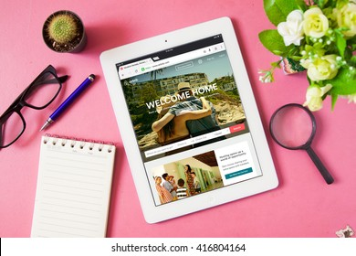 BANGKOK,THAILAND - May 7,2016:IPad open Airbnb application. Airbnb is a website for people to list, find, and rent lodging.