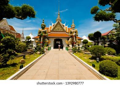Bangkok,Thailand – May,2,2019 : This is the Wat Arun or Wat Jang is located on the Thon Buri bank of the Chao Phraya River ,Bangkok ,Thailand