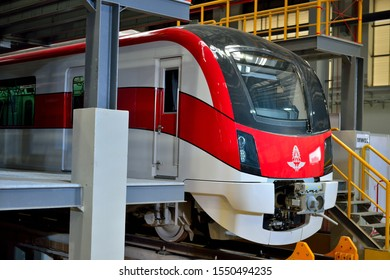 BANGKOK/THAILAND - NOV 01: The first two trainset of the Red Line arrives in Thailand. Prompt to promote Thailand as railway leader in ASEAN at Bangsue Station on November 1, 2019 in Bangkok, Thailand
