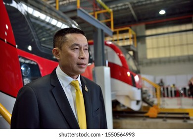 BANGKOK/THAILAND - NOV 01: Mr. Saksayam Chidchob, Minister of Transport of Thailand in The Welcoming Ceremony of the First set of New Red Line Commuter Train on November 01, 2019 in Bangkok, Thailand