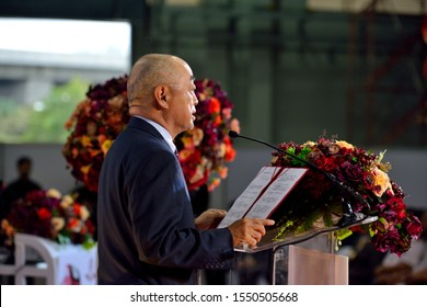 BANGKOK/THAILAND - NOV 01: Mr. Shiro Sadoshima, Ambassador of Japan to Thailand, in The Welcoming Ceremony of the First set of New Red Line Commuter Train on November 01, 2019 in Bangkok, Thailand