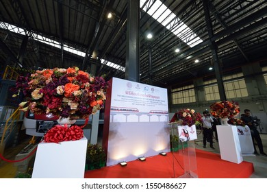 BANGKOK/THAILAND - NOV 01: The Welcoming Ceremony of the First set of New Red Line Commuter Train at Bangsue Grand Station on November 01, 2019 in Bangkok, Thailand
