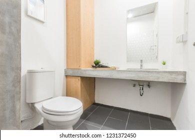 Bangkok/Thailand - Nov 10 2018 : White bathroom in condominium