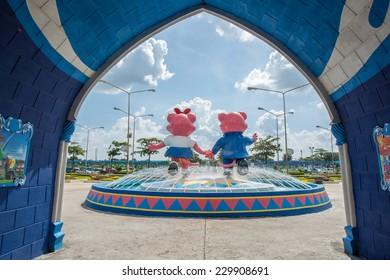 Bangkok,Thailand - November 08,2014 : The main gate to Siam amusement park in Bangkok of Thailand.