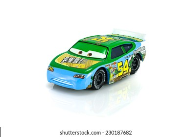Bangkok,Thailand - November 10, 2014: Faux Wheel Drive No.54 character of the Disney Pixar feature film Cars. A diecast cars collection from mattel inc.