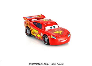 Bangkok,Thailand - November 10, 2014: Lightning McQueen main protagonist of the Disney Pixar feature film Cars. A diecast cars collection from mattel inc.