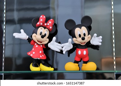 Bangkok/Thailand - November 10th, 2019. Mickey Mouse and Minnie mouse figure character in toy gift shop at KING POWER Rangnam