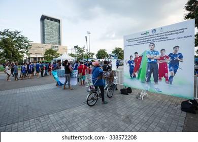 BANGKOK,THAILAND - NOVEMBER 12 : The group of Thailand football team's fanclubs  are at Rajamangala Stadium before big match between Thailand and Taiwan  in Bangkok,Thailand on November 12,2015.