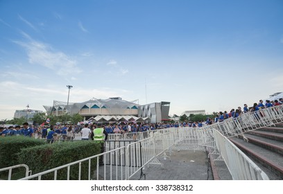 BANGKOK,THAILAND - NOVEMBER 12 : The group of Thailand football team's fanclubs  are at Rajamangala Stadium before big match between Thailand and Taiwan  in Bangkok,Thailand on November 12,2015