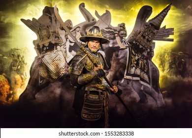 "Bangkok,Thailand - November 1,2019 : Lt.Col. Wanchana Sawasdee for Thailand's grandest film ""The Legend of King Naresuan""wax figure display at Madame Tussauds Museum,Siam Discovery in Bangkok Thailand"