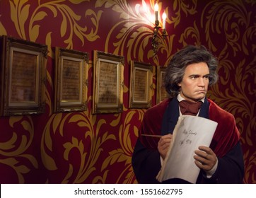 Bangkok,Thailand - November 1,2019 : Ludwig van Beethoven wax figure display at Madame Tussauds Museum,Siam Discovery in Bangkok Thailand.