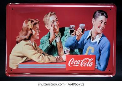 Bangkok,Thailand - November ,2017 : Coca-Cola Zinc plate very vintage at Bangkok,Thailand