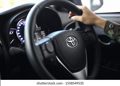 Bangkok,thailand - November 4 2019 : The right hand steering wheel of the Toyota brand is controlling when driving.