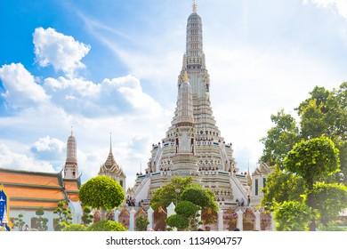 Bangkok,Thailand – November,12,2017 : This is Pagoda of Wat Arun  is located on the Thon Buri bank of the Chao PhrayaRiver ,Bangkok ,Thailand