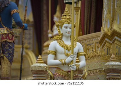 Bangkok,Thailand - November,5,2017 : Royal Cremation Exhibition of His Majesty King Bhumibol Adulyadej at royal crematorium Sanam Luang,Traditional Art of Sculpture in the forest Himmapan at Sanam Lua