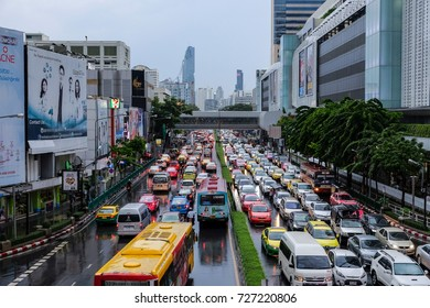 Bangkok-Thailand OCT 2 2017: Traffic jams on Phaya Thai Rd. from Pathumwan Intersection in front of MBK center in the evening after work. Traffic jam causes car users to fret and poor mental health.
