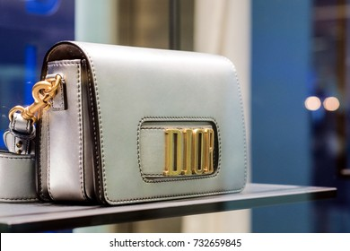 Bangkok-Thailand OCT 2 2017:Dior leather handbag collection for women in showcase on Dior shop, Siam Paragon shopping center The famous luxury department store in Bangkok, Thailand