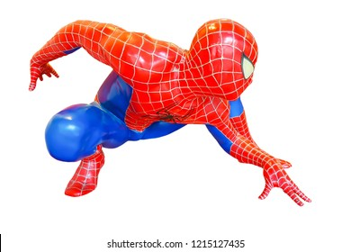 Bangkok,Thailand - Oct 26, 2018 : Spider-Man model sit down is isolated on white background of character from Spiderman movie franchise. Spider-Man is a fictional superhero in Marvel Comics.