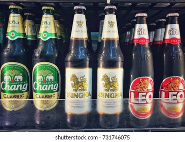 Bangkok,Thailand - October 10 ,2017 : Thai Beer ,Singha ,Leo ,Chang , on shelf at  7-11 shop , Bangkok,Thailand