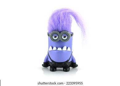 Bangkok,Thailand - October 11, 2014: Evil minion chomper toy character from Despicable Me animation movie. There are plastic toy sold as part of the McDonald's Happy meals.