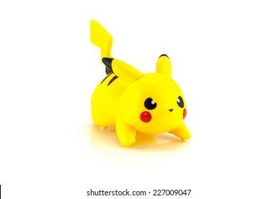 Bangkok,Thailand - October 11, 2014: Pikachu figure character from the Pokemon japanes cartoon animation.