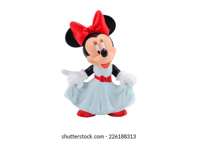 Bangkok,Thailand - October 19, 2014:  Minnie mouse figure toy from Disney character. This character from Mickey and Minnie Mouse  animation.