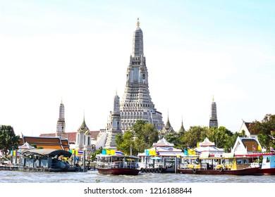 BANGKOK,THAILAND -OCTOBER 20,2018 the Central Pagoda at Wat Arun - the Temple of Dawn in Bangkok , Thailand